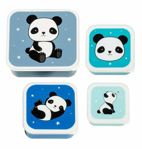 Bambinista-A LITTLE LOVELY COMPANY-Tablewear-Lunch and Snack Box Set of 4 Panda