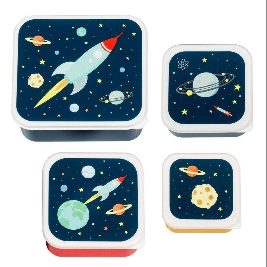 Bambinista-A LITTLE LOVELY COMPANY-Tablewear-Lunch and Snack Box Set of 4 Space