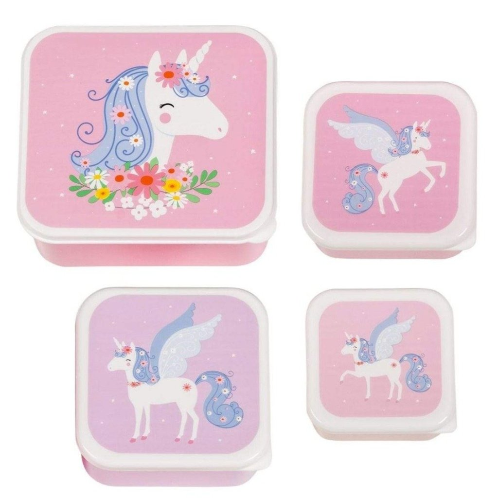 Bambinista-A LITTLE LOVELY COMPANY-Tablewear-Lunch and Snack Box Set of 4 Unicorn