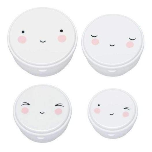 Bambinista-A LITTLE LOVELY COMPANY-Tablewear-Snack Box Set of 4 Happy Face