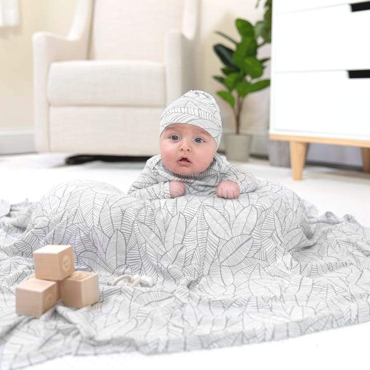 Bambinista-ADEN + ANAIS-Blankets-Comfort Knit™ Swaddle Blanket Zebra Plant