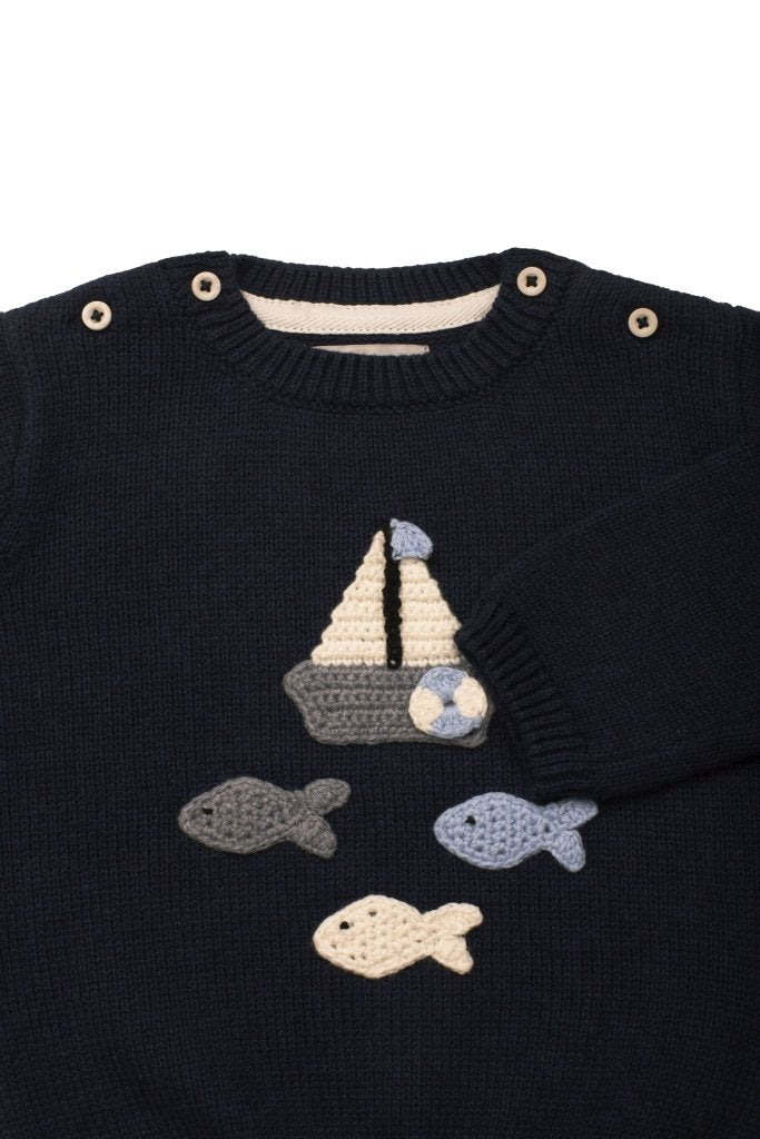 Bambinista-ARC DE NOA-Tops-Row Row Row Your Boat Sweater Set