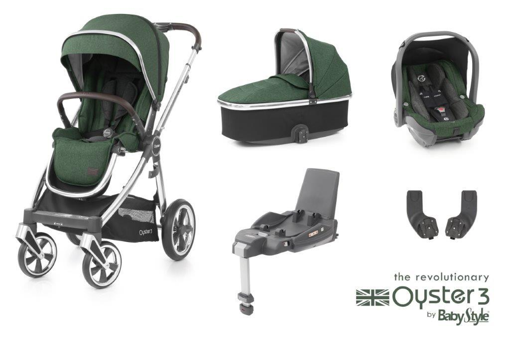 Bambinista-BABY STYLE-Travel-Oyster 3 Essential Package (5 Piece) - Alpine Green / Mirror Chassis