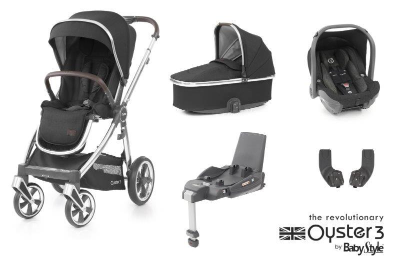 Bambinista-BABY STYLE-Travel-Oyster 3 Essential Package (5 Piece) - Caviar / Mirror Chassis