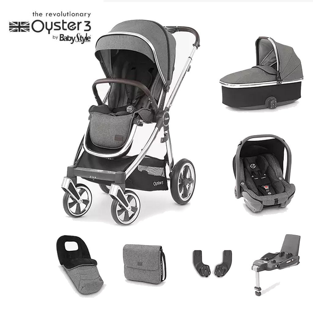 Bambinista-BABY STYLE-Travel-Oyster 3 Luxury Package (7 Piece) - Mercury (Mirror)