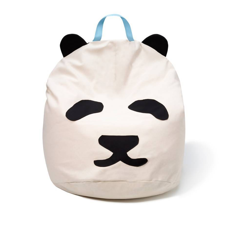 Bambinista-BINI-Furniture-Pouffe with Pandas Blue Handle