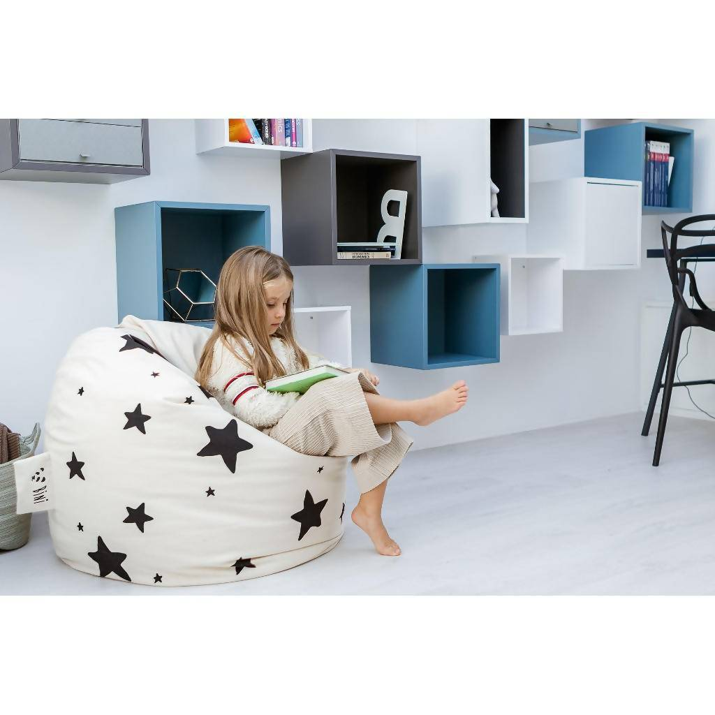 Bambinista-BINI-Furniture-Pouffe with Stars and Black Handle