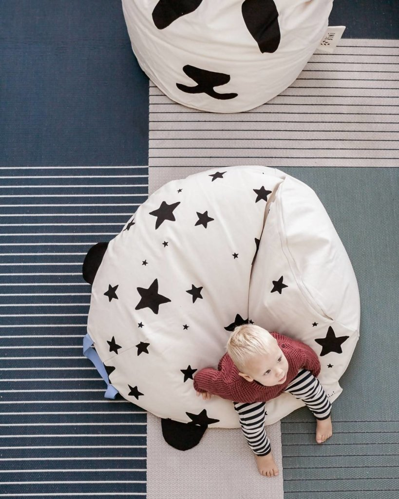 Bambinista-BINI-Furniture-Pouffe with Stars and Blue Handle