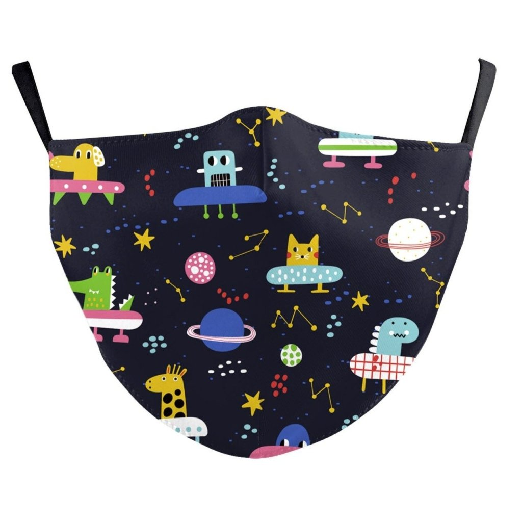 Bambinista-BIRD AND BEAR-Accessories-Kids Face Mask Black Animals in Space
