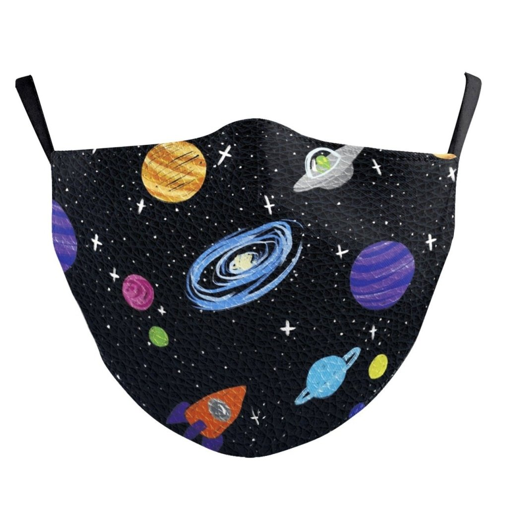 Bambinista-BIRD AND BEAR-Accessories-Kids Face Mask Black Space