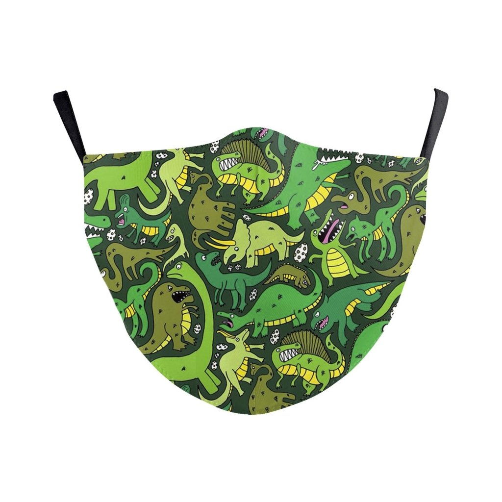 Bambinista-BIRD AND BEAR-Accessories-Kids Face Mask Green Dinosaur
