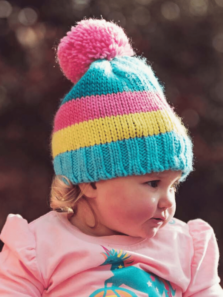 Bambinista-BLADE & ROSE-Accessories-Hat Pastel Stripe Multi Colour Bobble