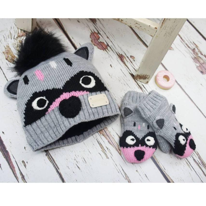 Bambinista-BLADE & ROSE-Accessories-Raccoon Hat and Mitten Set