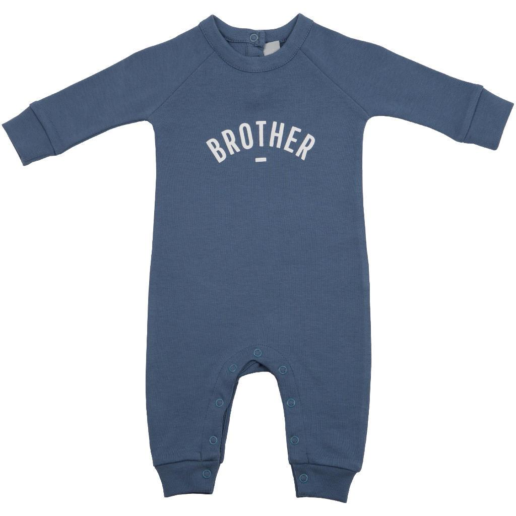 Bambinista-BOB & BLOSSOM-Rompers-'Brother' Baby Romper Denim Blue