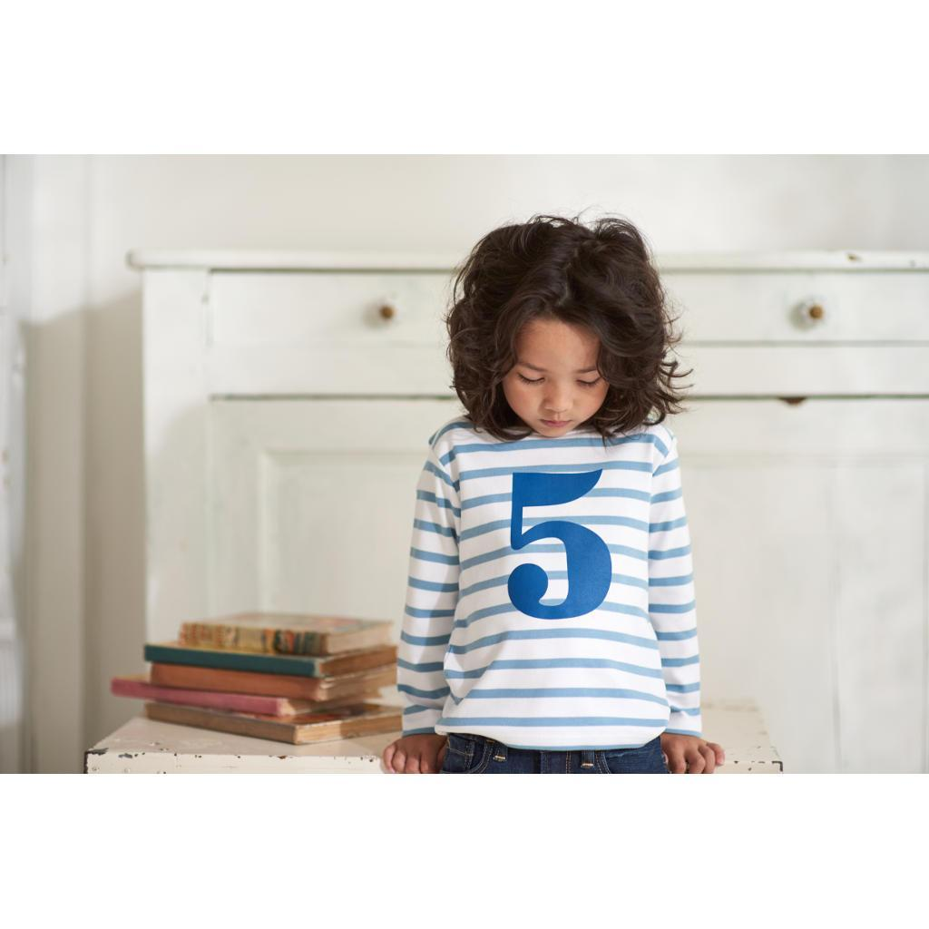 Bambinista-BOB & BLOSSOM-Tops-Number Long Sleeve T-Shirt Blue Stripe Age 1