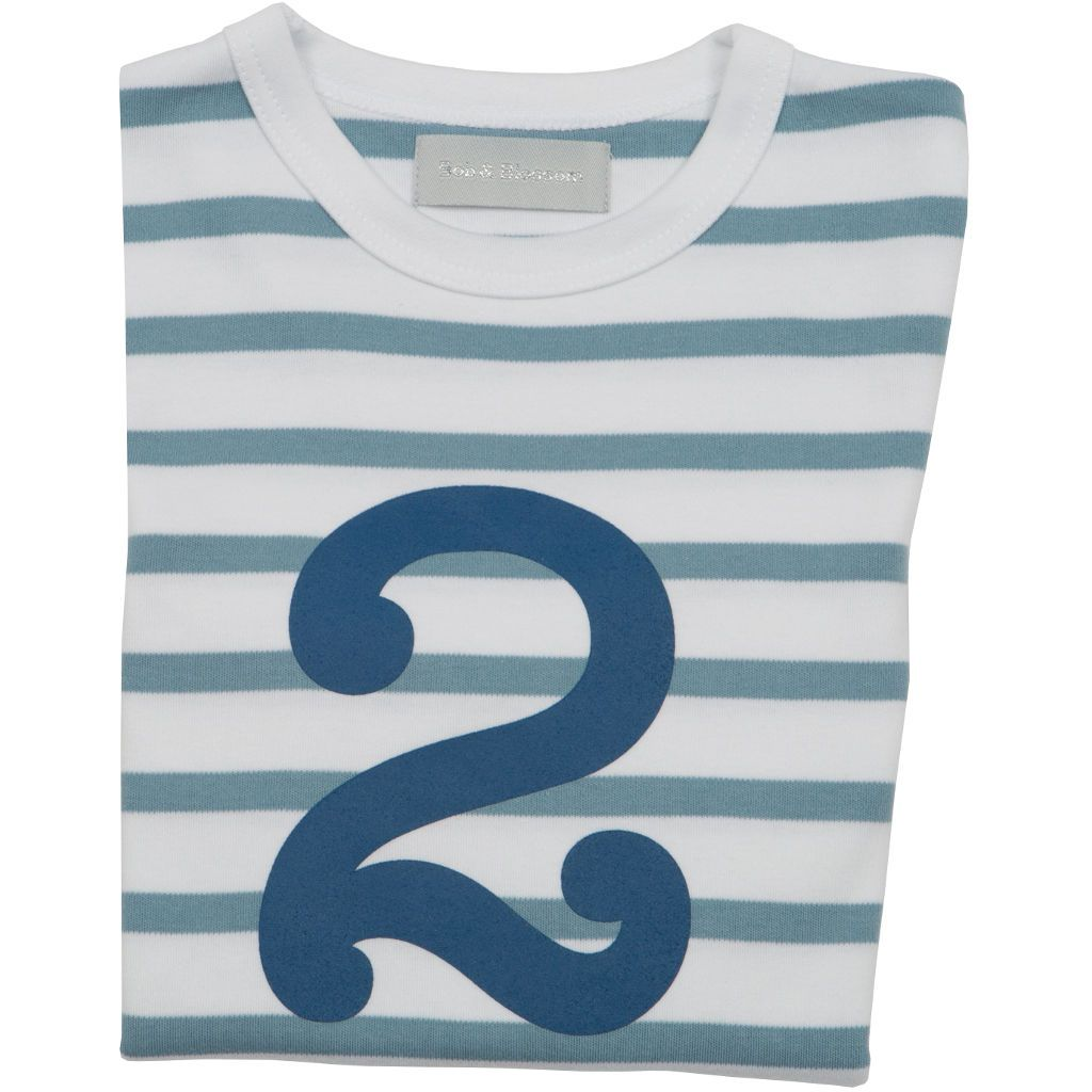 Bambinista-BOB & BLOSSOM-Tops-Number Long Sleeve T-Shirt Blue Stripe Age 2