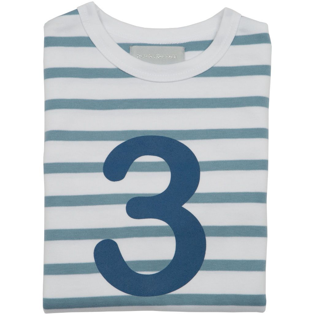 Bambinista-BOB & BLOSSOM-Tops-Number Long Sleeve T-Shirt Blue Stripe Age 3