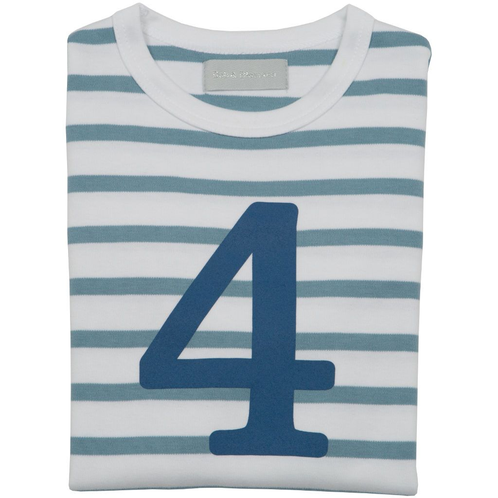 Bambinista-BOB & BLOSSOM-Tops-Number Long Sleeve T-Shirt Blue Stripe Age 4