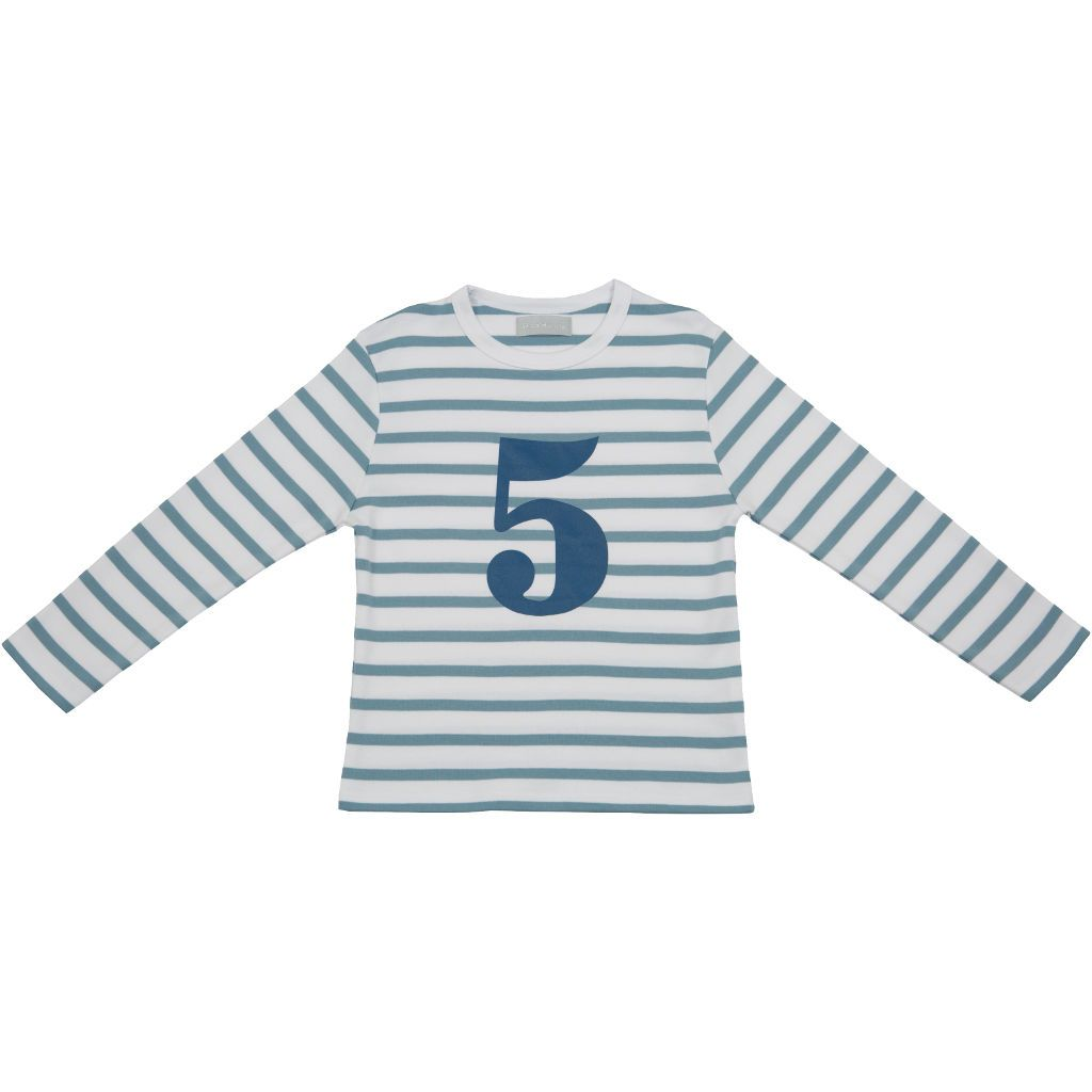 Bambinista-BOB & BLOSSOM-Tops-Number Long Sleeve T-Shirt Blue Stripe Age 5