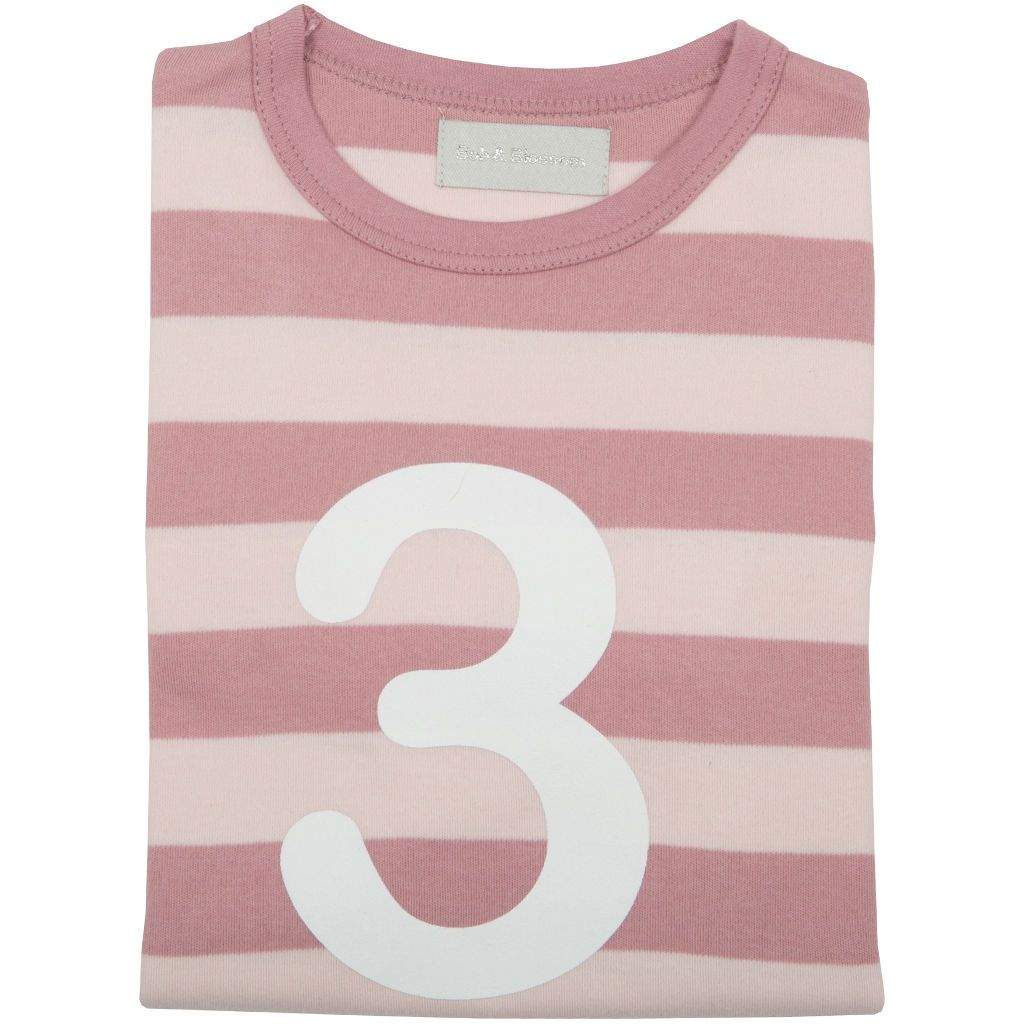 Bambinista-BOB & BLOSSOM-Tops-Number Long Sleeve T-Shirt Pink Stripe Age 3