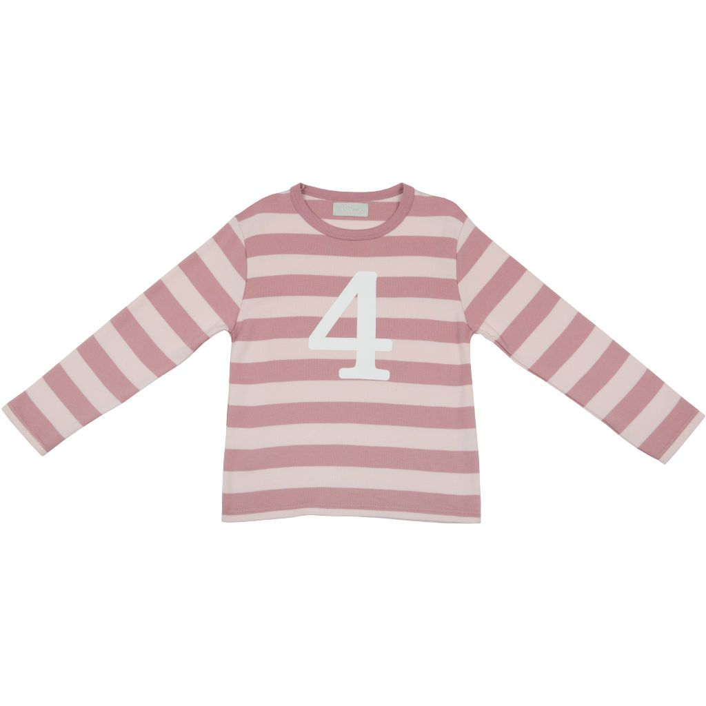 Bambinista-BOB & BLOSSOM-Tops-Number Long Sleeve T-Shirt Pink Stripe Age 4