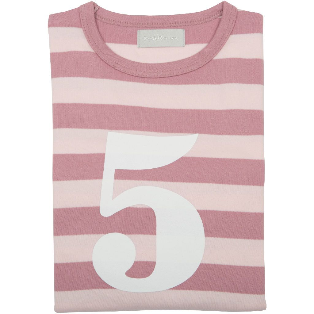 Bambinista-BOB & BLOSSOM-Tops-Number Long Sleeve T-Shirt Pink Stripe Age 5
