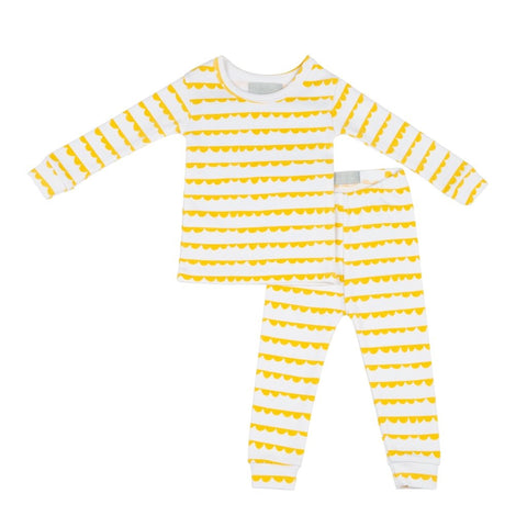 Bambinista-BOB & BLOSSOM-Pyjamas-Pyjamas White and Sunshine Yellow Bunting Print