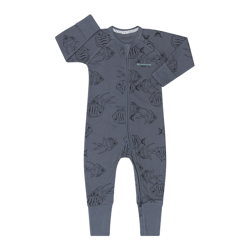 Bambinista-BONDS-Rompers-Bonds Classic Rib Zippy Floating Seahorses Squid Ink