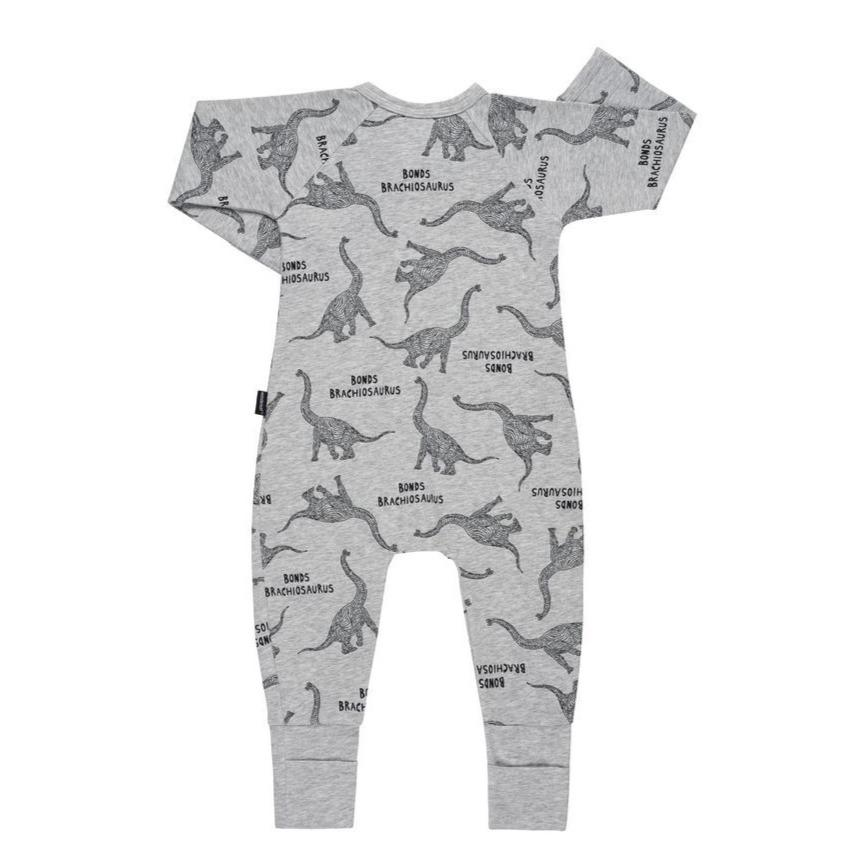 Bambinista-BONDS-Rompers-BONDS Zip Wondersuit Brachiosaurus Grey Marl