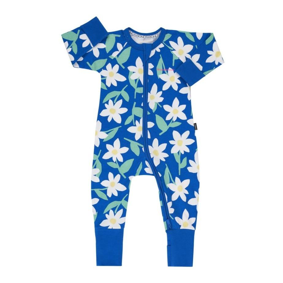 Bambinista-BONDS-Rompers-Bonds Zip Wondersuit Daisy Dreaming Blue Tang