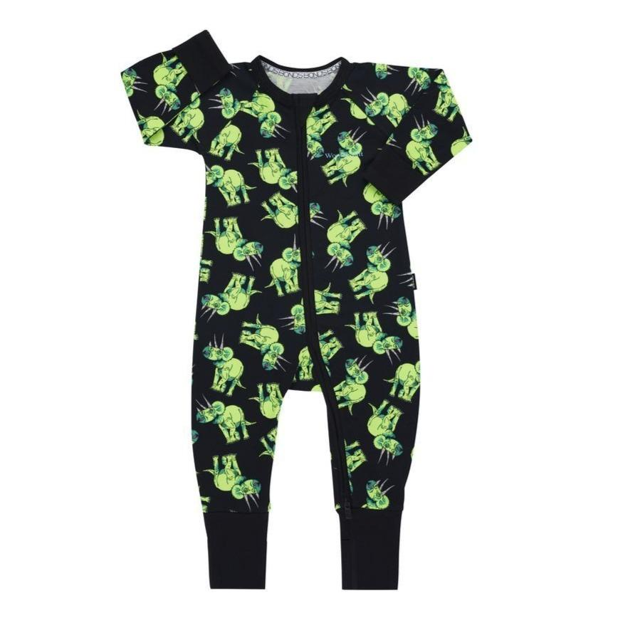 Bambinista-BONDS-Rompers-BONDS Zip Wondersuit Triceratops Party