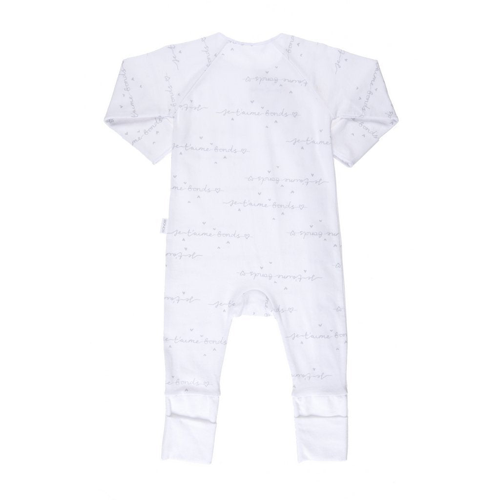 Bambinista-BONDS-Rompers-Cozysuit Je T'aime Bonds White/Grey