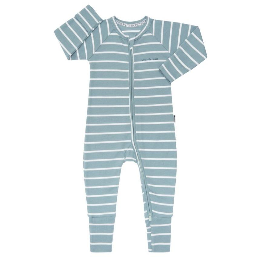 Bambinista-BONDS-Rompers-Ribbed Zip Wondersuit Cacti / White Stripe
