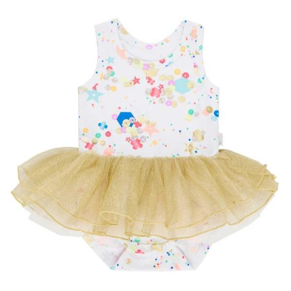 Bambinista-BONDS-Dresses-Sequin Print Tutu Dress Fully Sequin White
