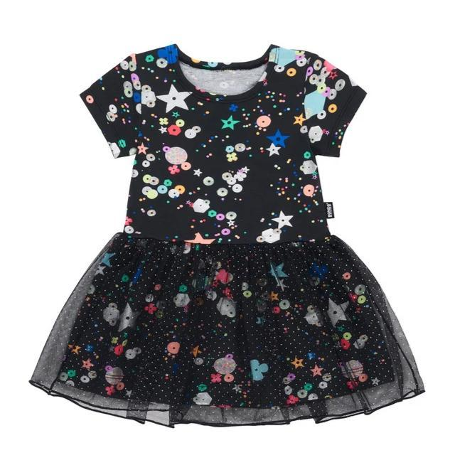 Bambinista-BONDS-Dresses-Sparkle Tutu Dress Fully Sequin Black