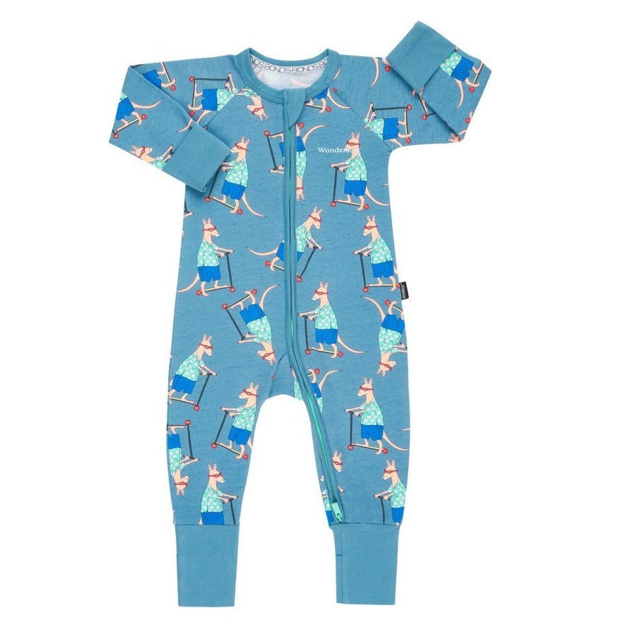 Bambinista-BONDS-Rompers-Zip Wondersuit Scooter Roo Ig Blue