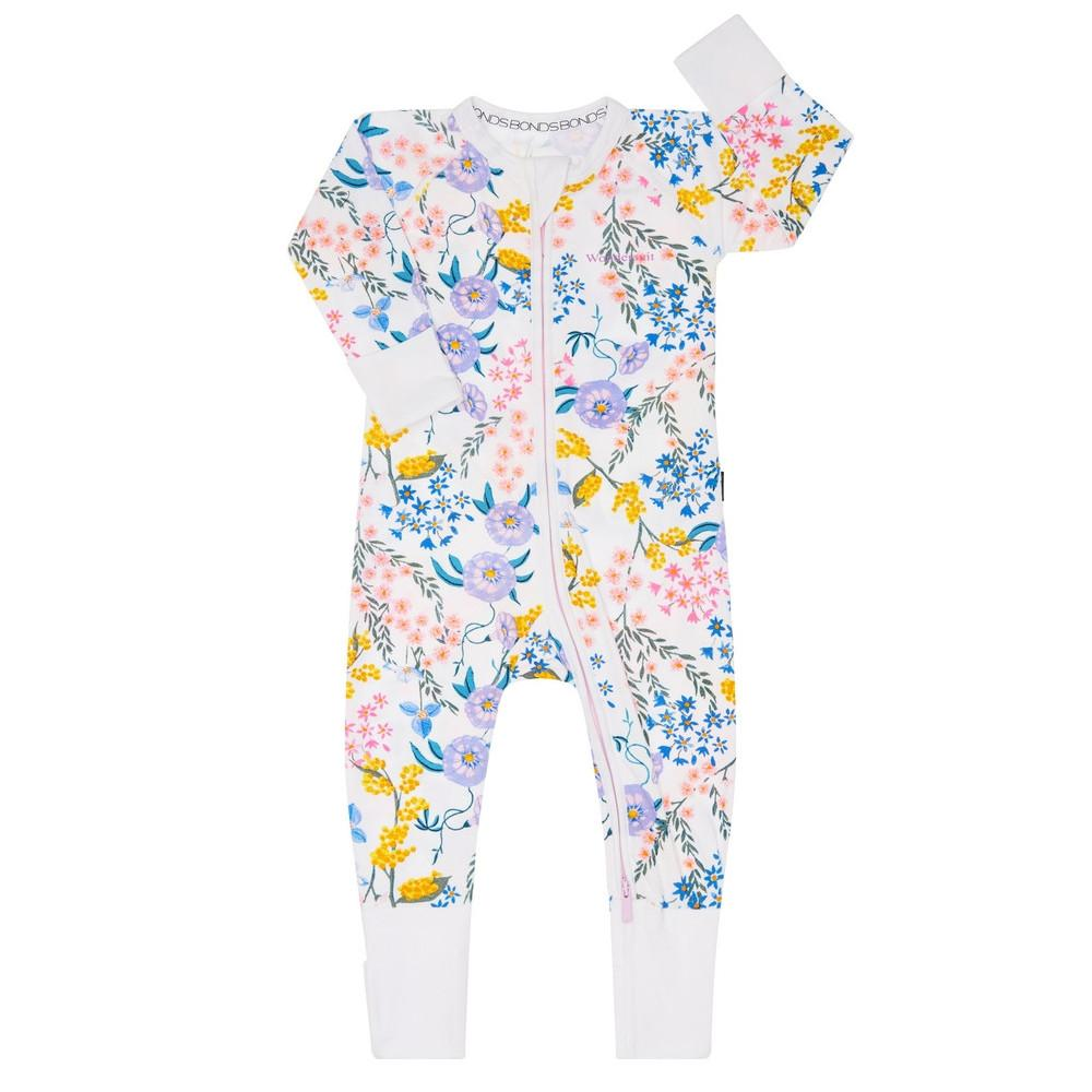 Bambinista-BONDS-Rompers-Zip Wondersuit Wendys Wildflowers White