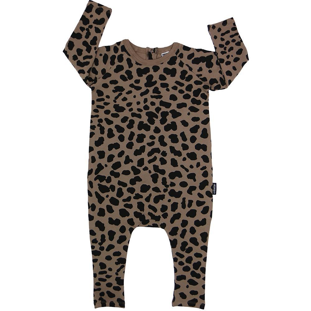 Bambinista-CRIBSTAR-Rompers-Brown Spots Long Sleeve Harem Romper