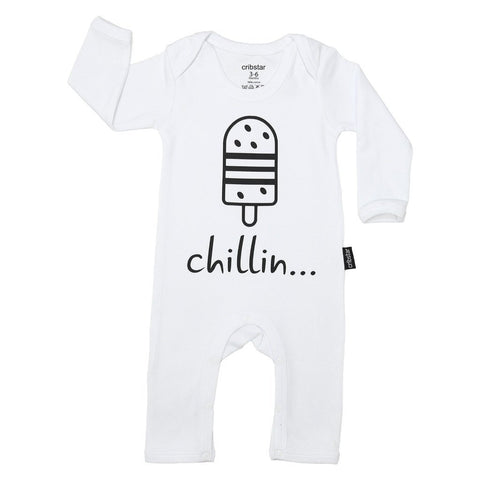 Bambinista-CRIBSTAR-Rompers-'Chillin...' Baby Romper White
