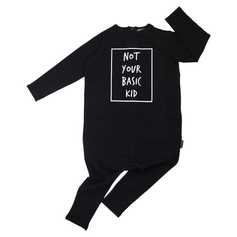 Bambinista-CRIBSTAR-Rompers-'Not Your Basic Kid' Long Sleeve Harem Romper Black