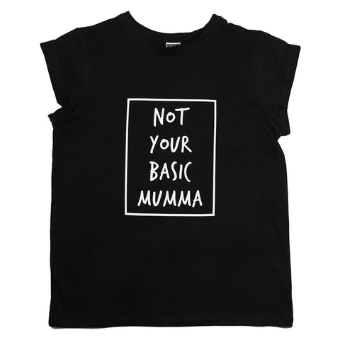 Bambinista-CRIBSTAR-Adult Tops-'Not Your Basic Mumma' Womans T-Shirt Black
