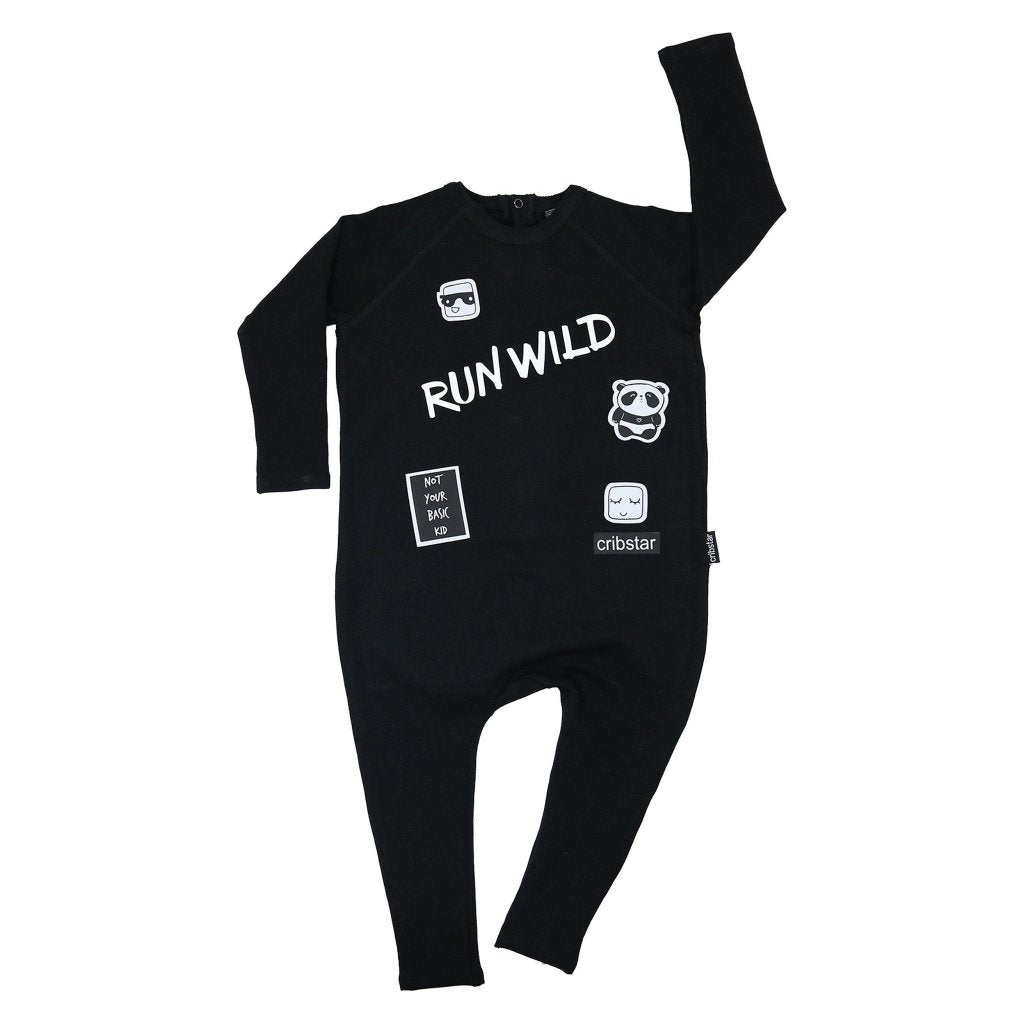 Bambinista-CRIBSTAR-Rompers-Run Wild Long Sleeve Harem Romper Black