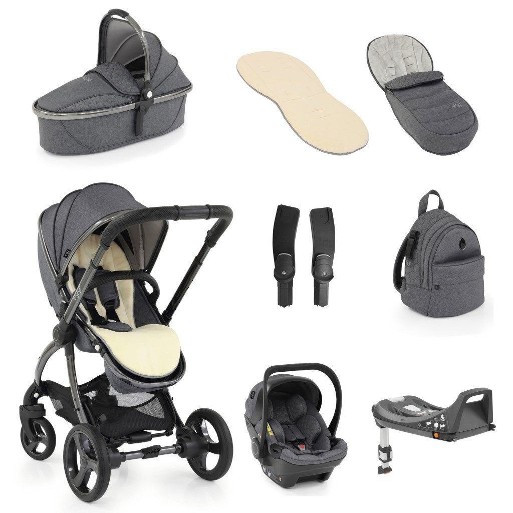 Bambinista-EGG-Travel-Egg 2 Luxury Bundle with Egg Shell Car Seats - Quartz