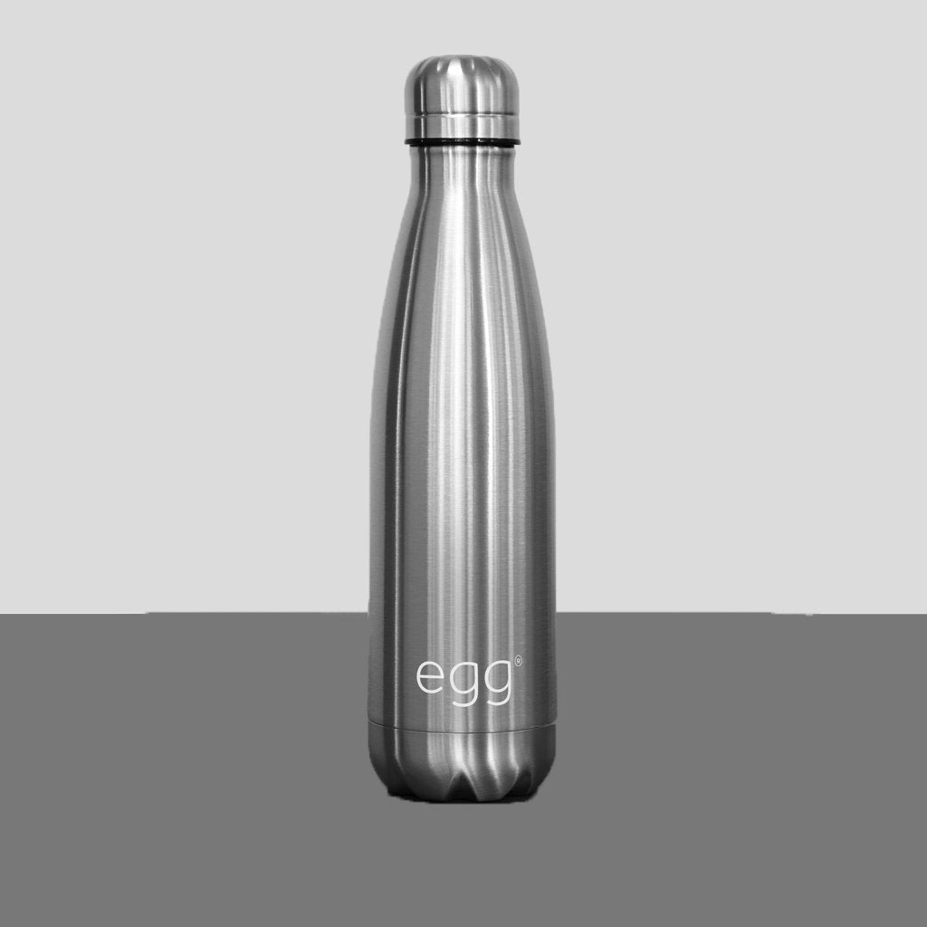 Bambinista-EGG-Travel-Egg Water Bottle - Brushed Steel