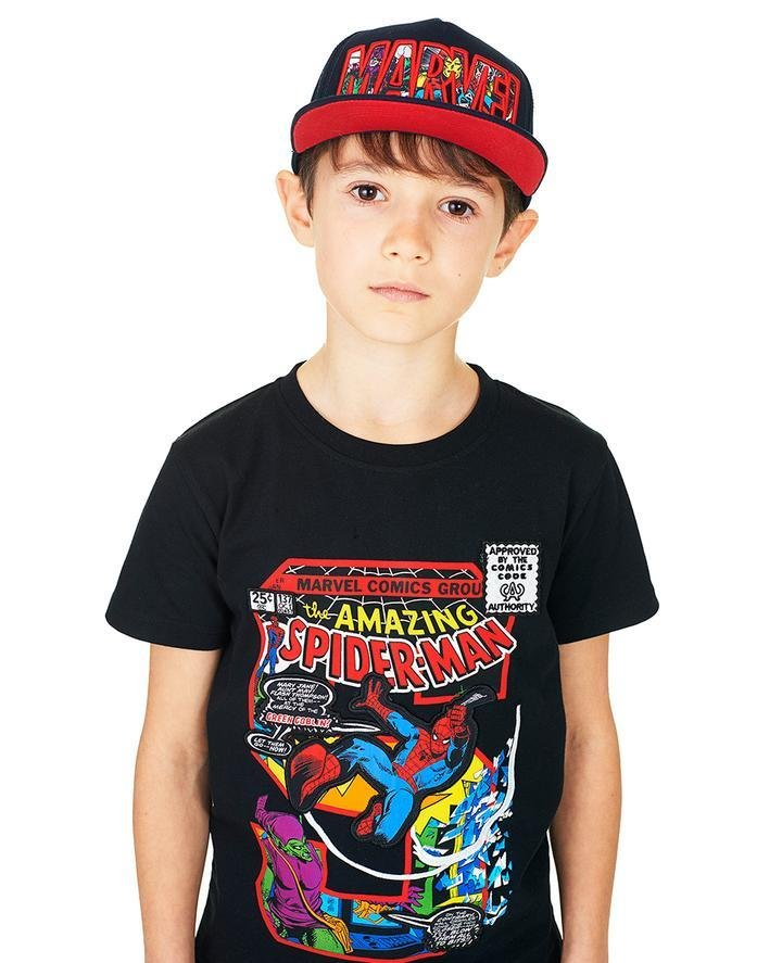 "Bambinista-FABRIC FLAVOURS-Tops-Spider-Man ""S"" Applique Tee"