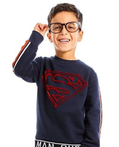 Bambinista-FABRIC FLAVOURS-Tops-Superman Tuft Logo Sweatshirt