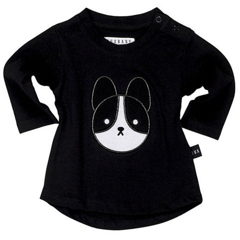 Bambinista-HUXBABY-Tops-Frenchie Applique Long Sleeve Top