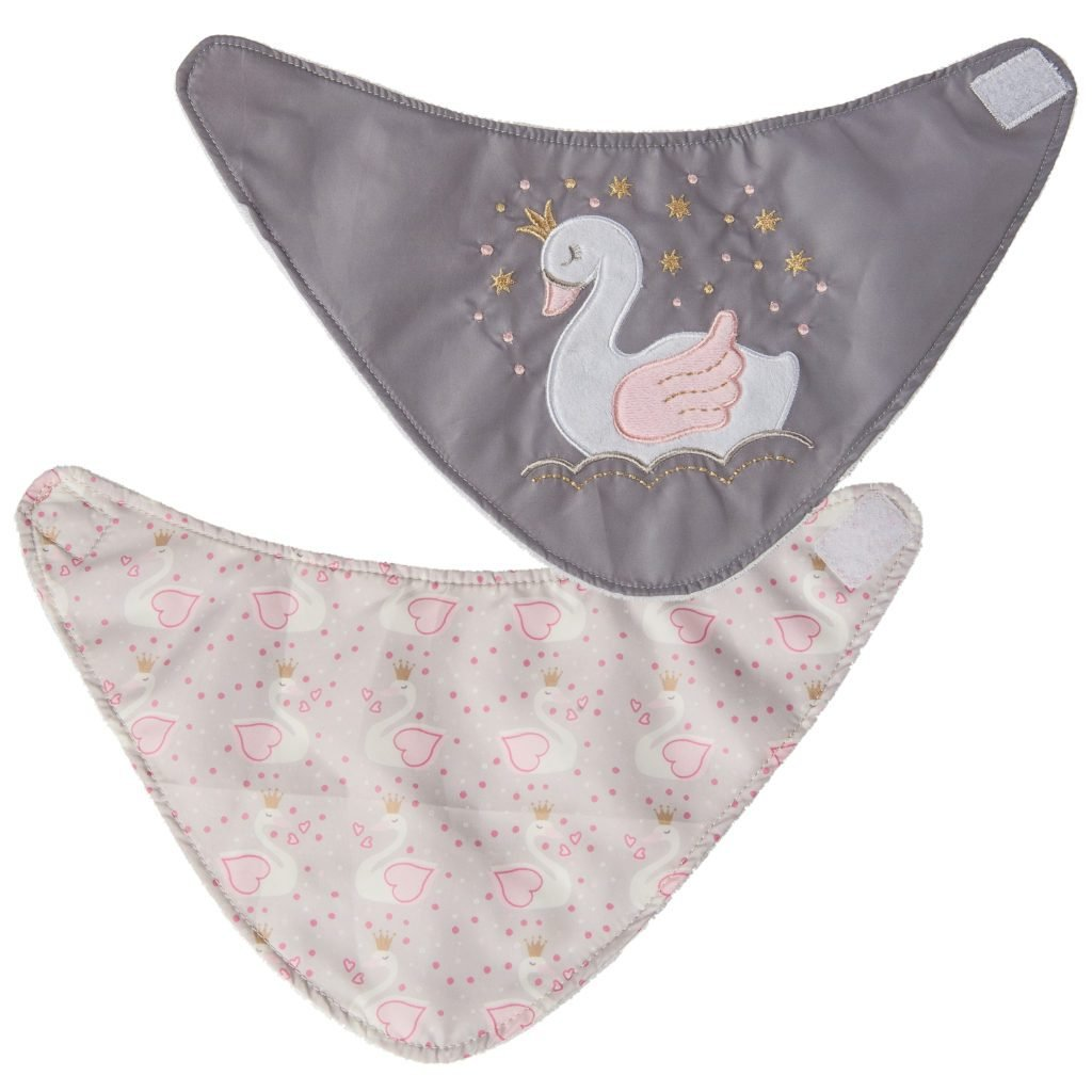 Bambinista-MARY MEYER-Accessories-Itsy Glitzy Swan Bibs - 2 Piece