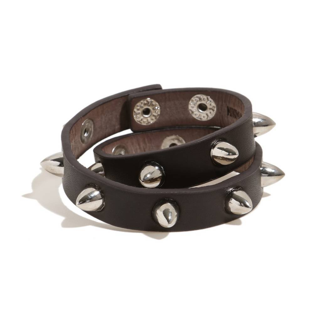 Bambinista-MINIMAN-Accessories-Toddler / Kids Double Leather Bangle Mini Spikes
