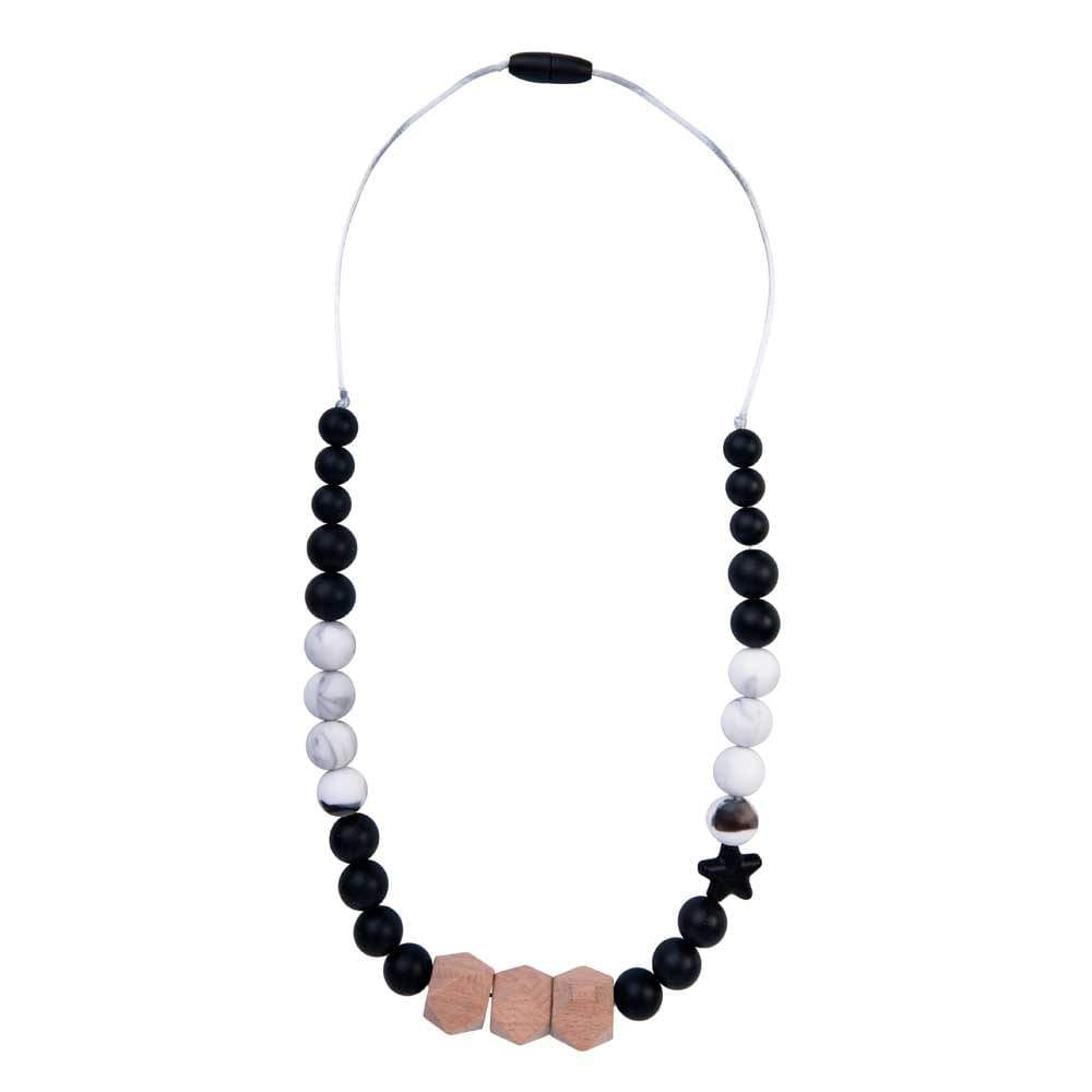 Bambinista-NIBBLING LONDON-Accessories-Teething Necklace Solar Black and Marble